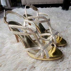 Caparros Strappy Gold Sandal Heels